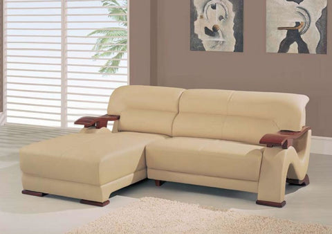 Divani Casa 2033-2 - Modern Beige Bonded Leather Sectional VGDM2033-2-BND-BGE - Pearl Igloo