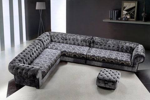 Divani Casa Metropolitan - Transitional Fabric Sectional Sofa & Ottoman VG2T0669 - Pearl Igloo