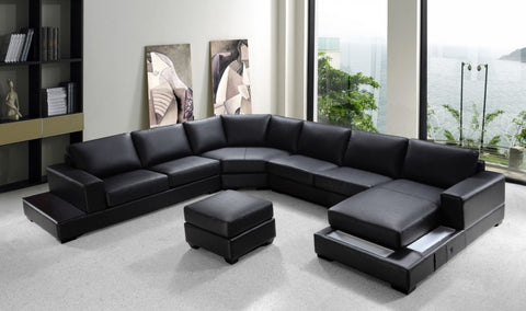 Divani Casa Ritz - Modern Bonded Leather Sectional Sofa Set VG2T0693-BL - Pearl Igloo