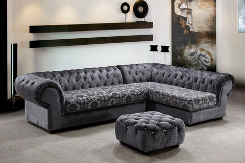 Divani Casa Metropolitan - Modern Fabric Sofa Sectional with Tufted Acrylic Crystals VG2T0669-1 - Pearl Igloo