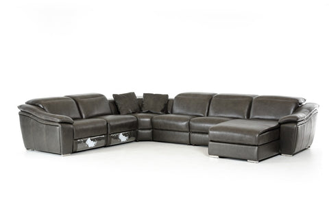 Divani Casa Jasper Modern Dark Grey Leather Sectional Sofa - VGKK1728-DKGRY - Pearl Igloo