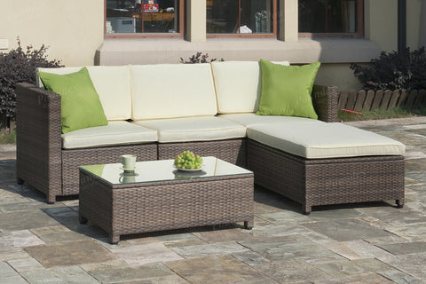 Poundex Outdoor Sectional Sofa P50244 - Pearl Igloo