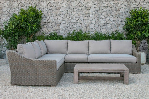 Renava Pacifica Outdoor Wicker Sectional Sofa Set VGATRASF-126 - Pearl Igloo - 1