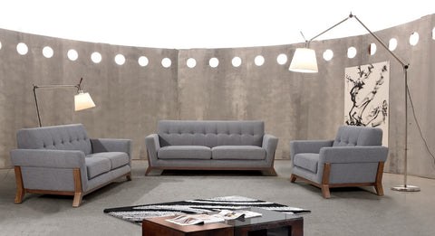 Modern Grey Fabric Sofa Set Divani Casa 0874 Collection VG2T0874-GRY - Pearl Igloo