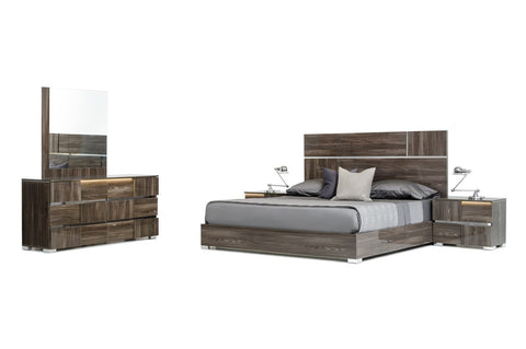 Modrest Picasso Italian Modern Grey Lacquer Cal. King Bedroom Set VGACPICASSO-SET-GREY - Pearl Igloo - 1