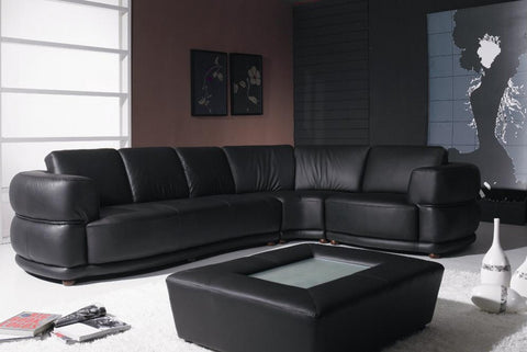 Yil T25 Contemporary Black Leather Sofa - VGYIT25 - Pearl Igloo