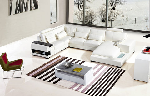 Divani Casa Bonded White Leather Sectional Sofa VGYIT285-RAF-WHT-BL - Pearl Igloo