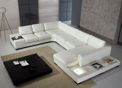 Divani Casa T35 - Modern Leather Sectional Sofa with Light VGYIT35-1 - Pearl Igloo