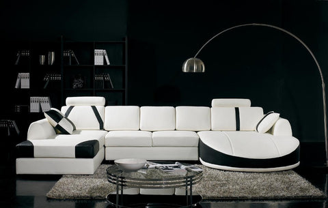 Divani Casa T57 - Modern Leather Sectional Sofa VGYIT57 - Pearl Igloo