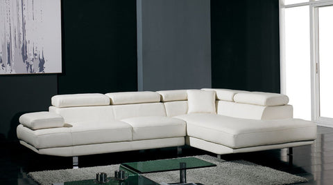Divani Casa T60 - Modern Bonded Leather Sectional Sofa VGYIT60-BL - Pearl Igloo
