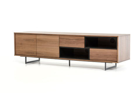Modrest Torlonia Modern Walnut & Black TV Stand VGBBMF1311A - Pearl Igloo - 1