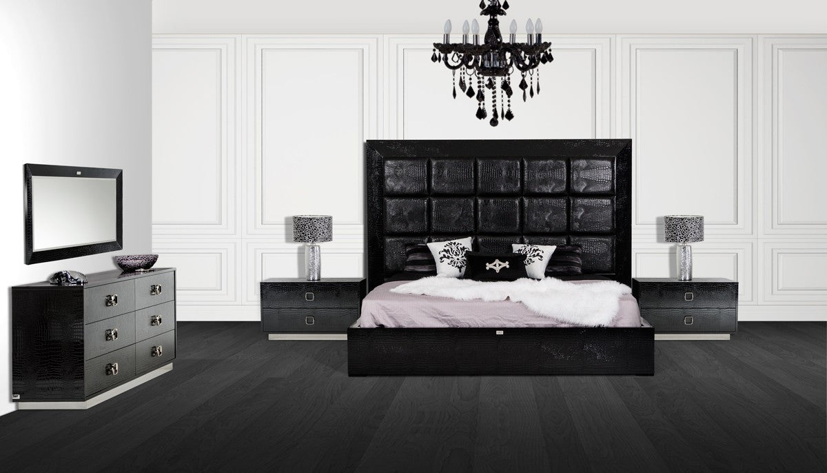 Modern Contemporary Bedroom Sets Vig Ax Victoria Modern Black Crocodile Eastern King Bedroom Set