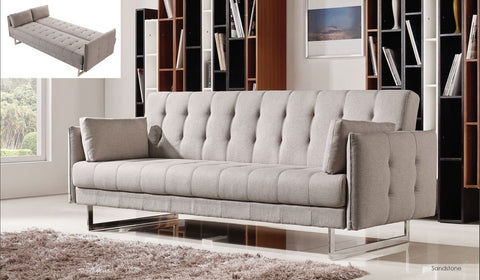 Diamond Hampton Convertible Sofa 2 Pcs (Sofa & Chair) Set - Pearl Igloo