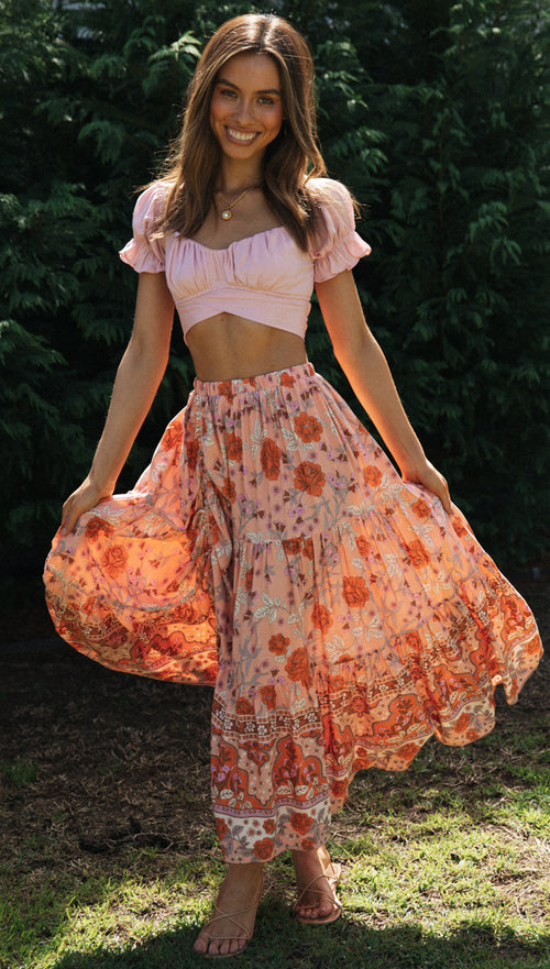 Simone Maxi Skirt (Peach)