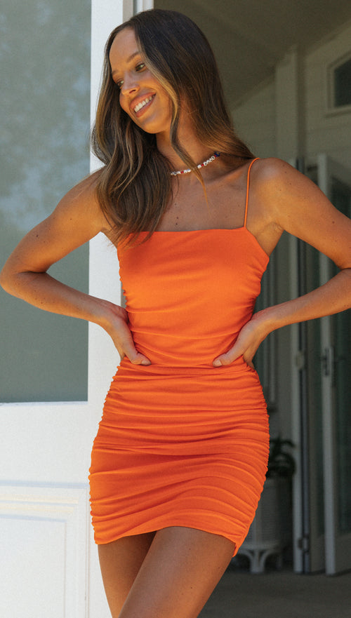 The Tropics Mini Dress (Tangerine)