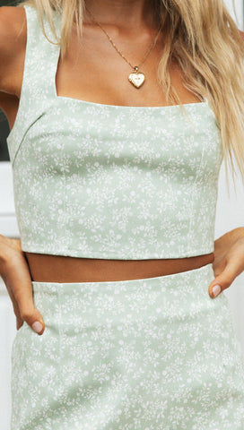 Bad Guess Crop (Sage Floral)