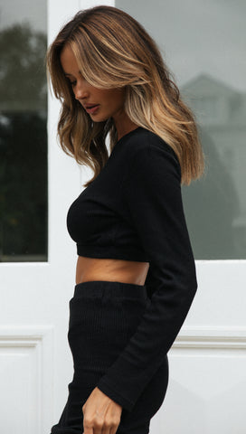 Eden Long Sleeve Top (Black)