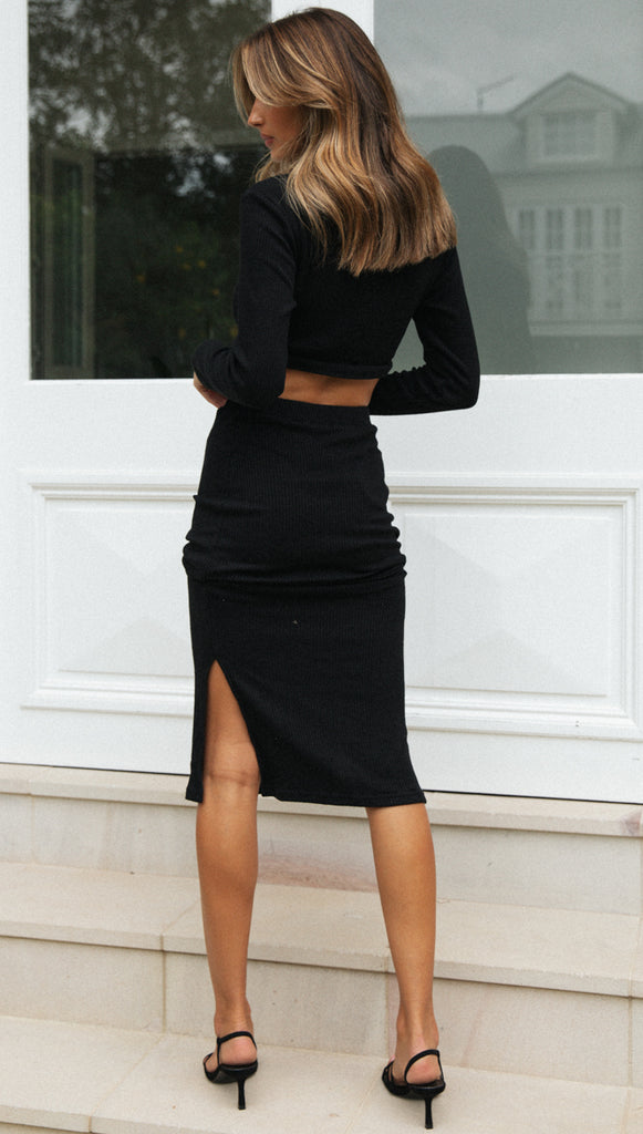 Eden Midi Skirt (Black)