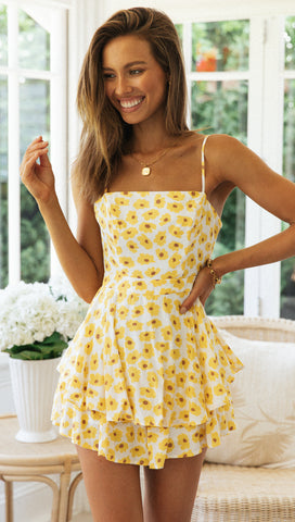 Romana Playsuit (Yellow Floral)