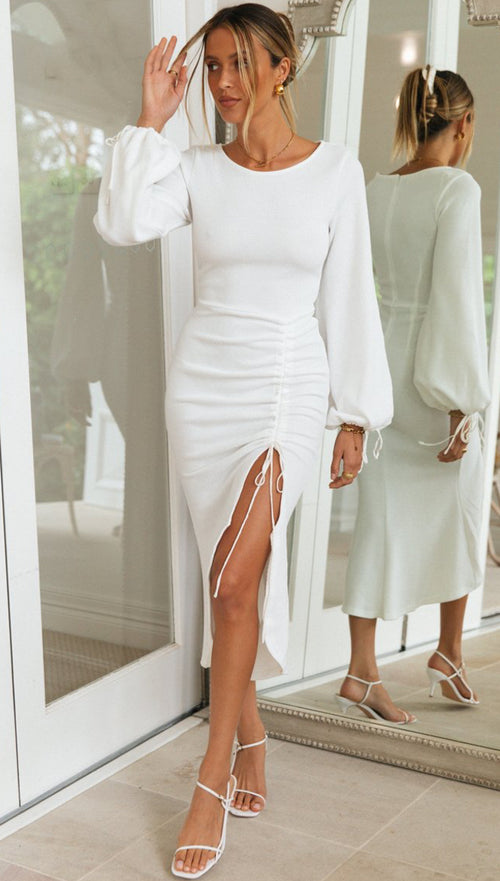 Elsie Midi Dress (White)