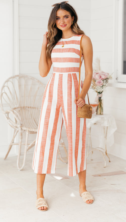 Los Cabos Jumpsuit (Orange Stripe)