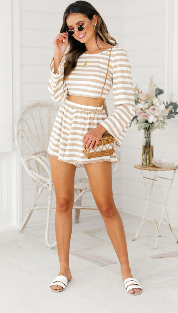Like Heaven High Tie Top (Gold & White Stripe)