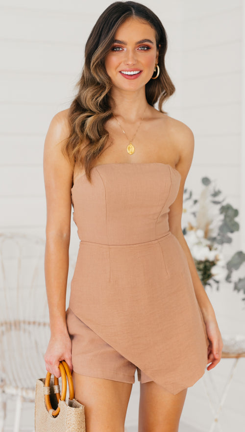 Cannon Beach Playsuit (Tan)