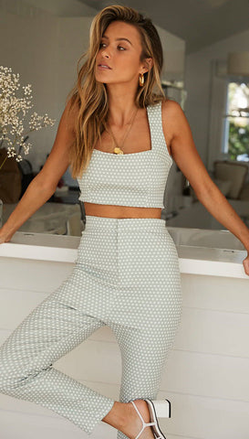 Dion Crop Pants (Mint Spot)