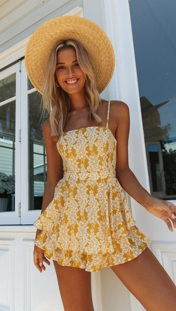 Romana Playsuit (Yellow & White Floral)