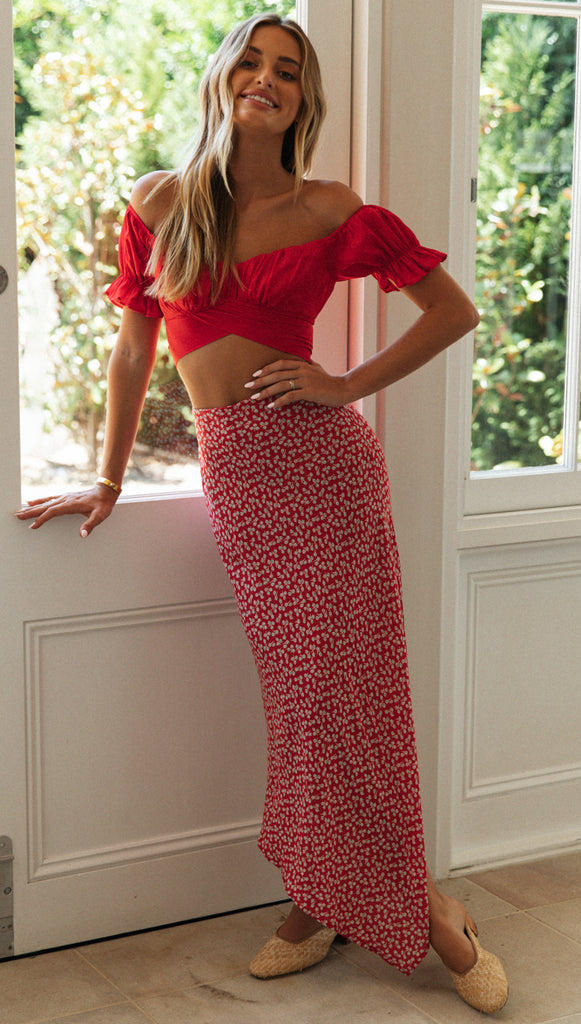 Daytona Skirt (Red Floral)