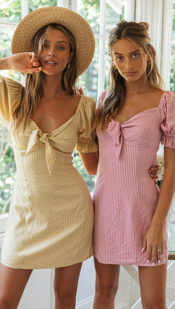 Margot Mini Dress (Pink Gingham)