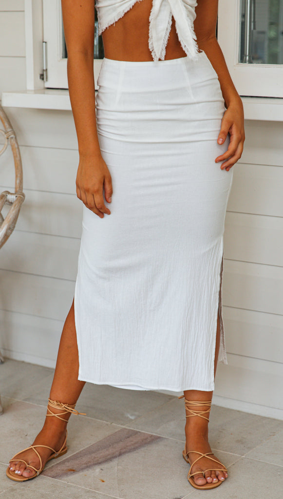 Daisy Midi Skirt (White)