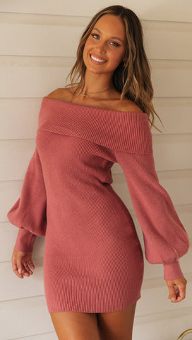 Carry Me Knit Dress (Rose)