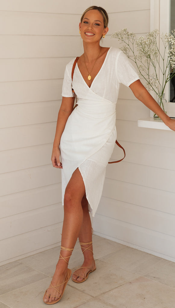 Bayside Wrap Dress (White) Sample Sale