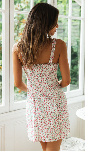 Osaka Mini Dress (White & Pink Floral)