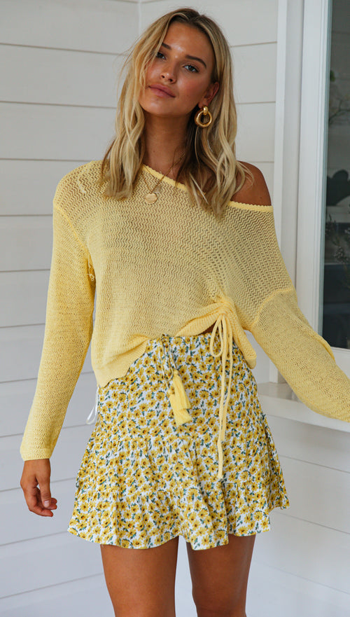 Neve Mini Skirt (Yellow Floral)