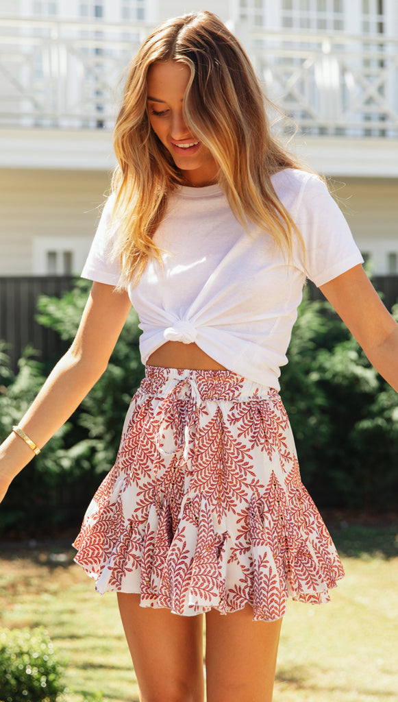 Royals Mini Skirt (Rose Floral)