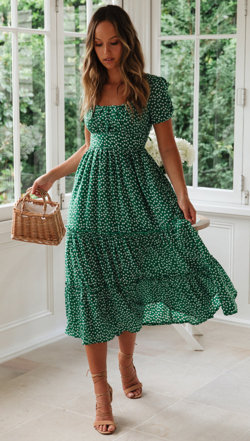 Away With Me Dress (Green Floral)