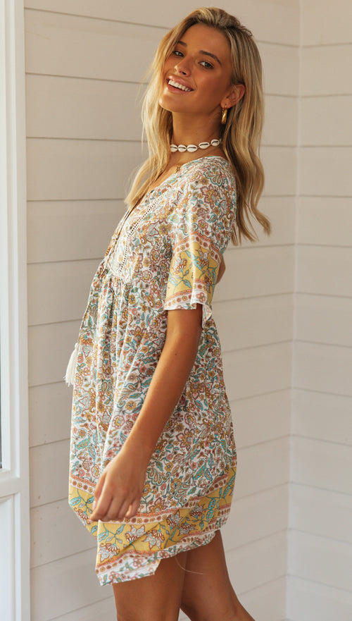 Cloverdale Dress (Pastel Yellow, Aqua & Peach)