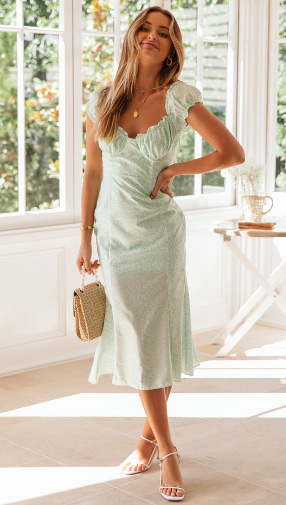 Sweet Melody Dress (Mint Floral)