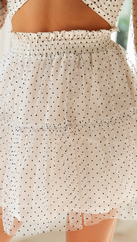 Ingrid Skirt (White & Black Polka Dot)