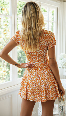 Celosia Dress (Orange Floral)