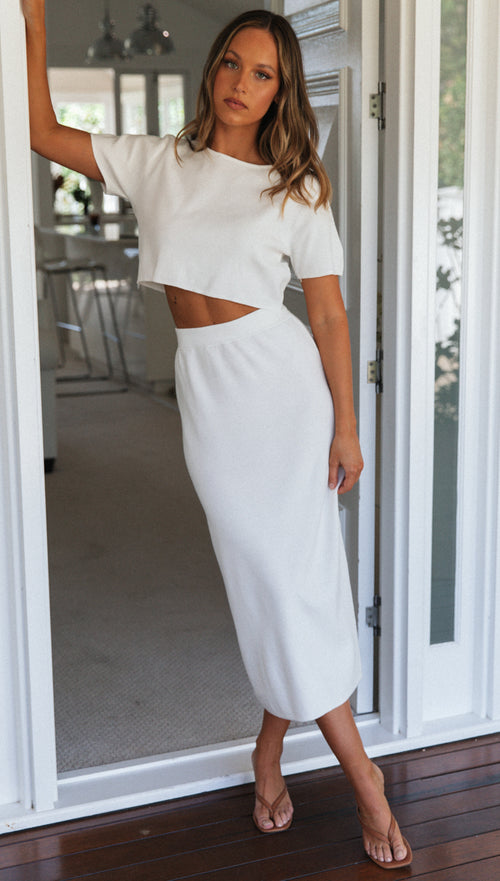 Josie Midi Skirt (White)