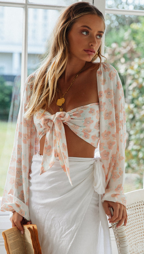 Sleep Walking Top (Peach Floral)