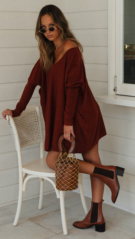 Dream On Knit Dress (Chocolate)