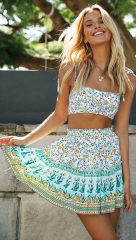 Palm Springs Crop (Green, White and Yellow Floral)