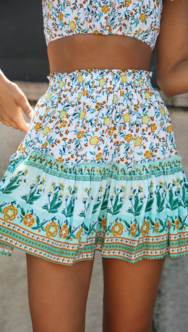 Palm Springs Skirt (Green, White and Yellow Floral)