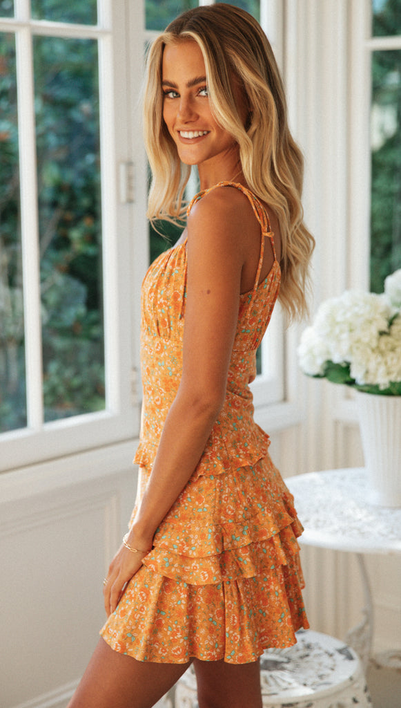 Gisela Mini Dress (Orange Floral)