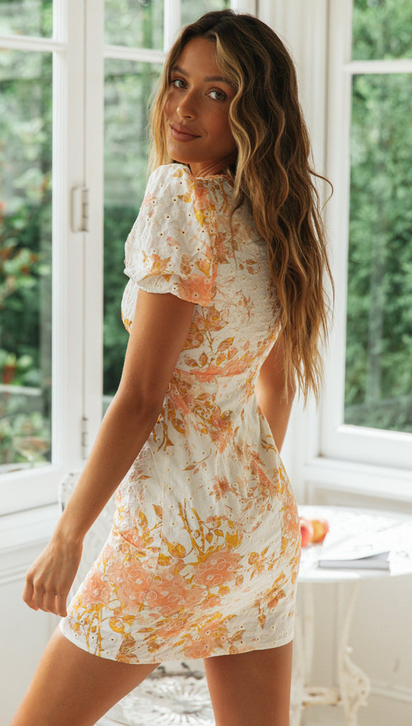 Josie Dress (Peach Floral)
