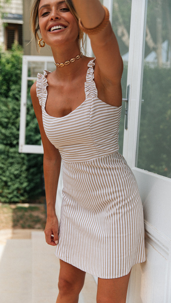Honey Bee Dress (Beige Stripe)